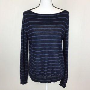 Vince. Navy Blue Blue Striped Sweater Stretch